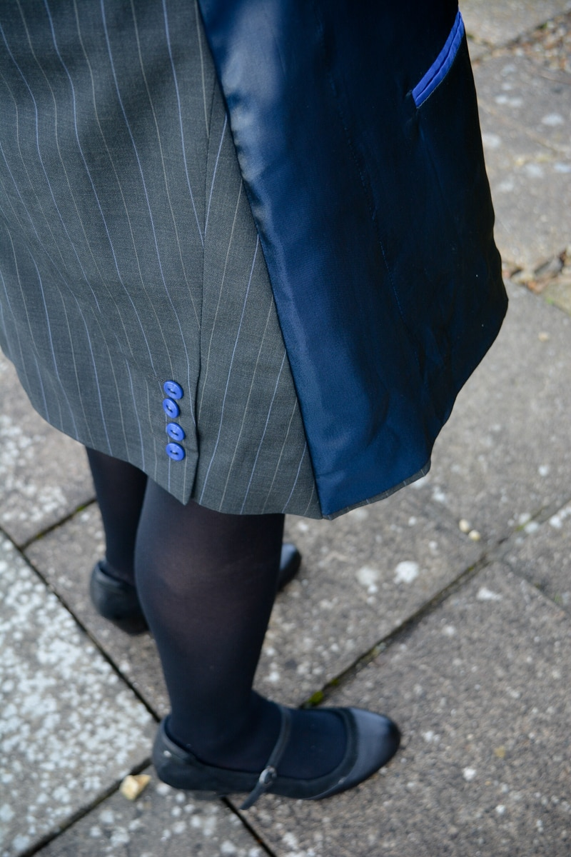 Suit jacket refashioned into a A line skirt 16