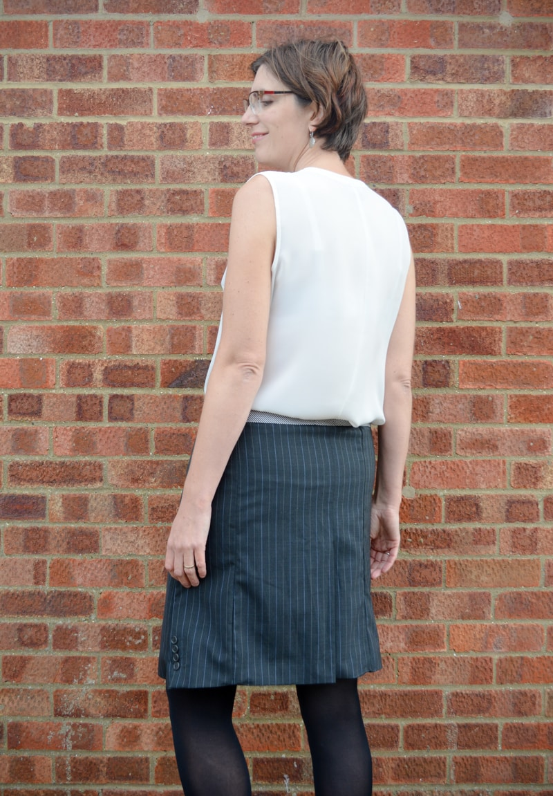 Suit jacket refashioned into a A line skirt 18