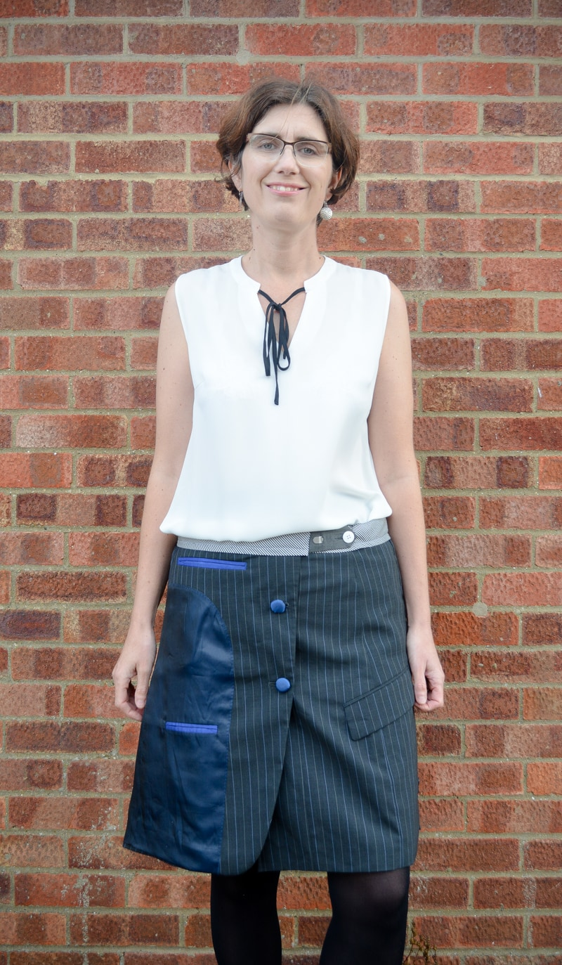 Suit jacket refashioned into a A line skirt 20