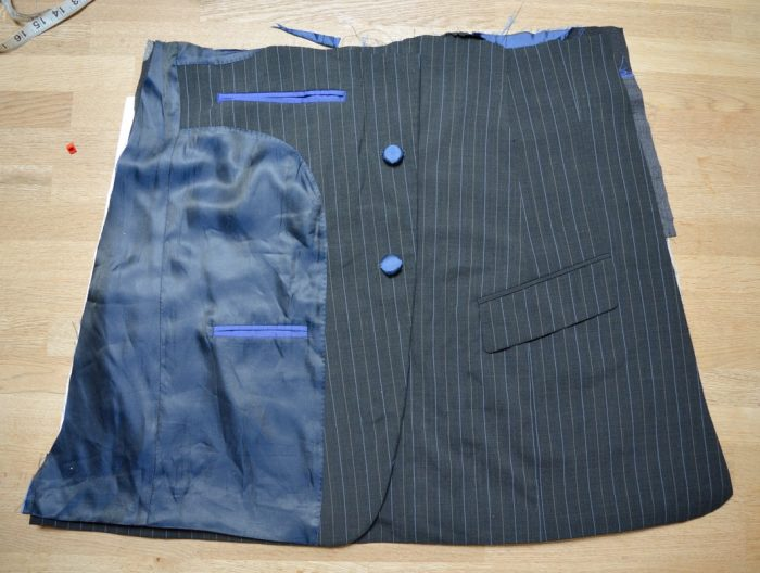 Suit jacket refashioned into a A line skirt 8