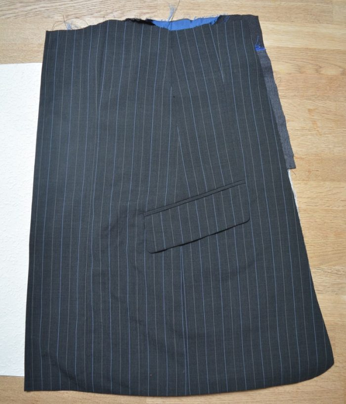 Suit jacket refashioned into a A line skirt 6