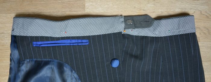 Suit jacket refashioned into a A line skirt 14