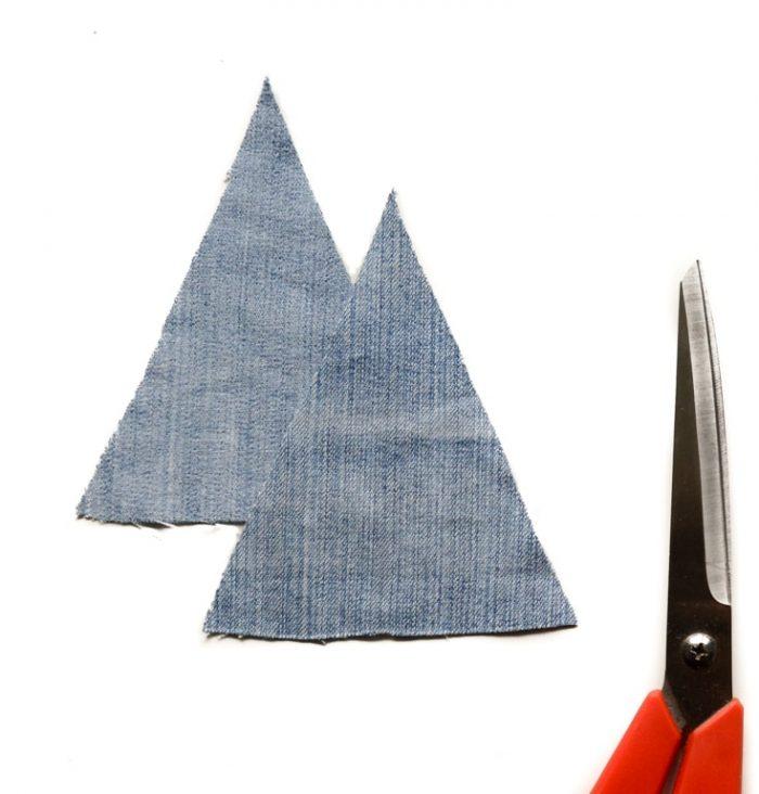 How to make Denim Christmas Tree Decorations 6