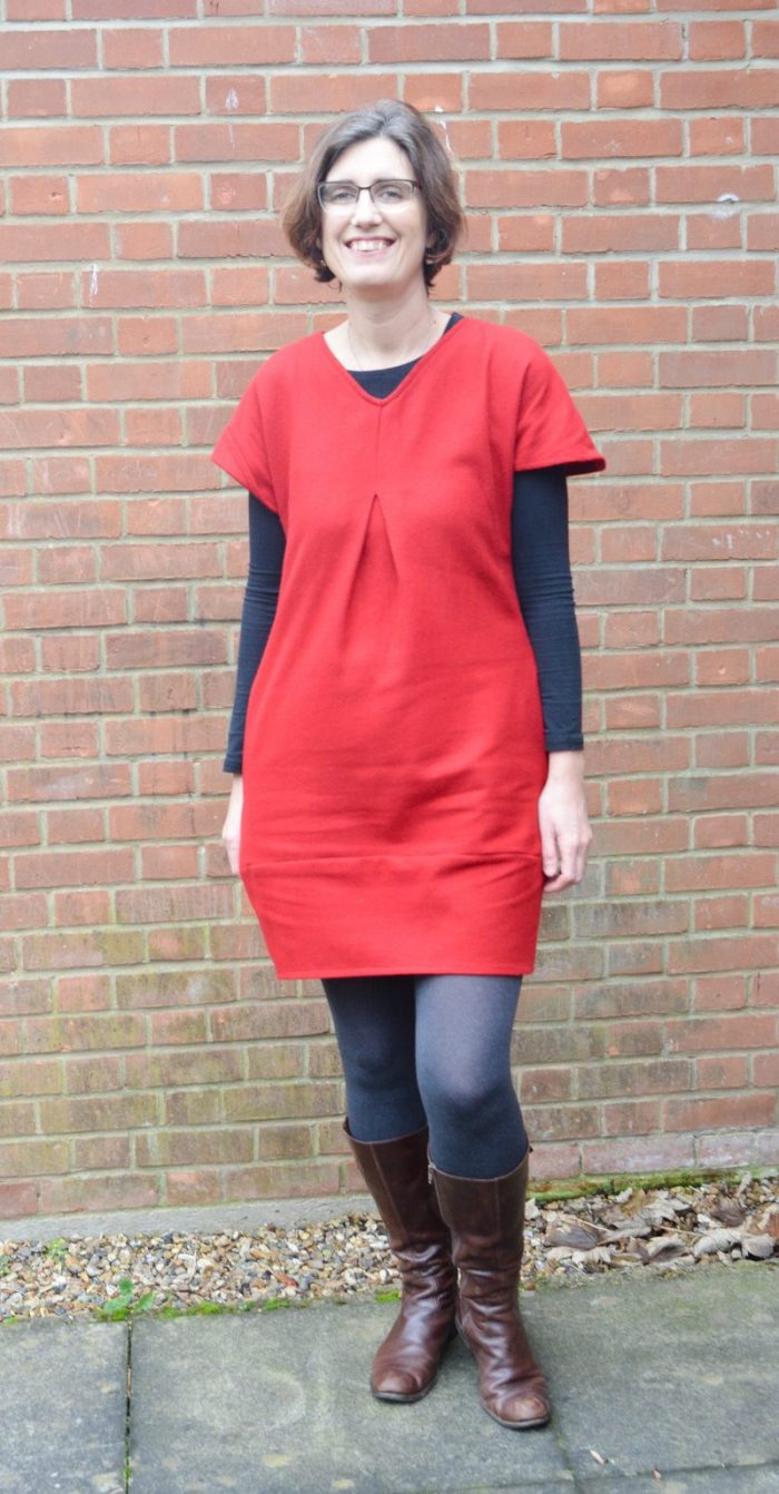 Celebrating Christmas - my new red dress. Tulip Dress Sew Different 2