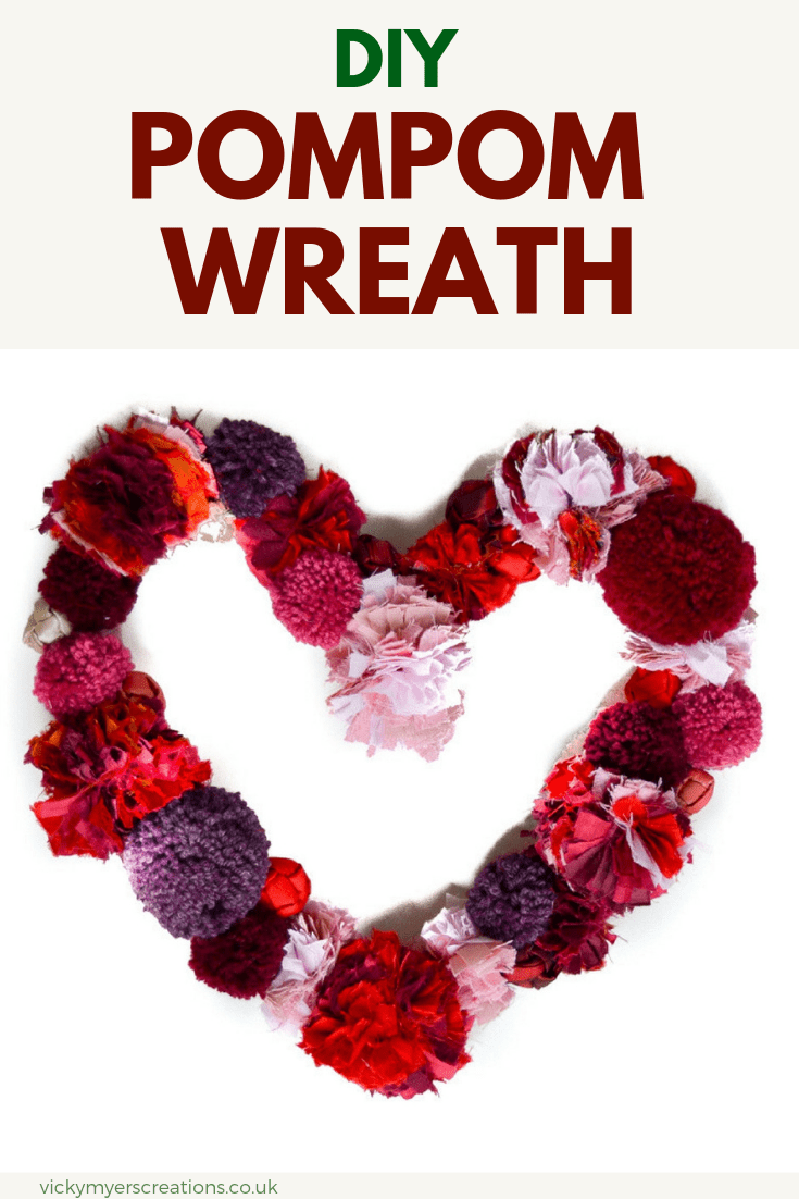 Use up your odds and ends of yarn and wool and learn how to make this easy heart shaped pompom wreath. Step by step tutorial, click through to see the super easy base for the wreath #DIYpompomwreath