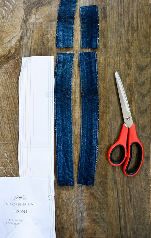 Scoop Pinafore Pattern Review, what can you make with four pairs of jeans? 20