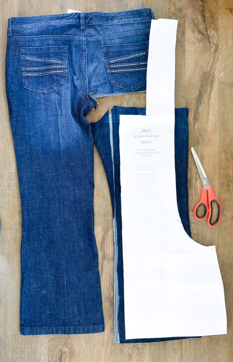 Scoop Pinafore Pattern Review, what can you make with four pairs of jeans? 6