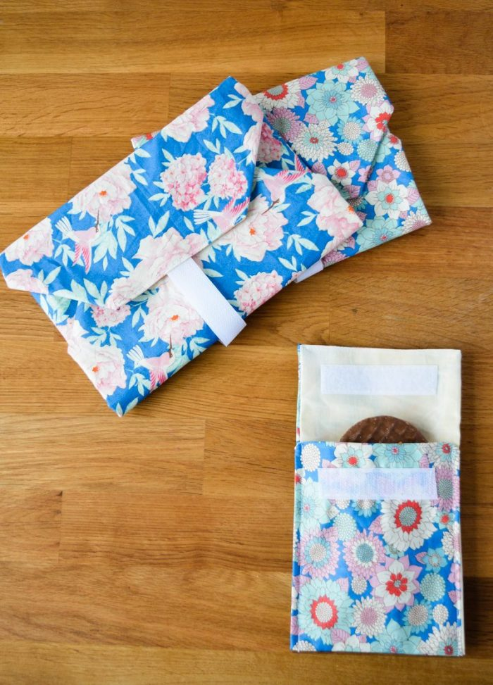 Reusable sandwich wraps and a snack bag, beeswax wraps