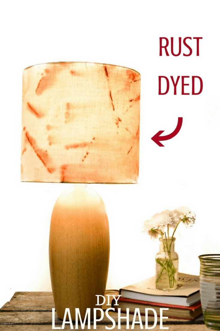 How to make a fabric lampshade cover - Rust Fabric Lampshade 6