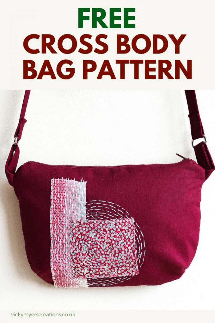 Learn how to make a cross body bag with boro stitching for decoration. Great tutorial for this free, easy bag pattern, perfect size for wallet, mobile, keys and lipstick #freebagpattern #sewingbagpattern
