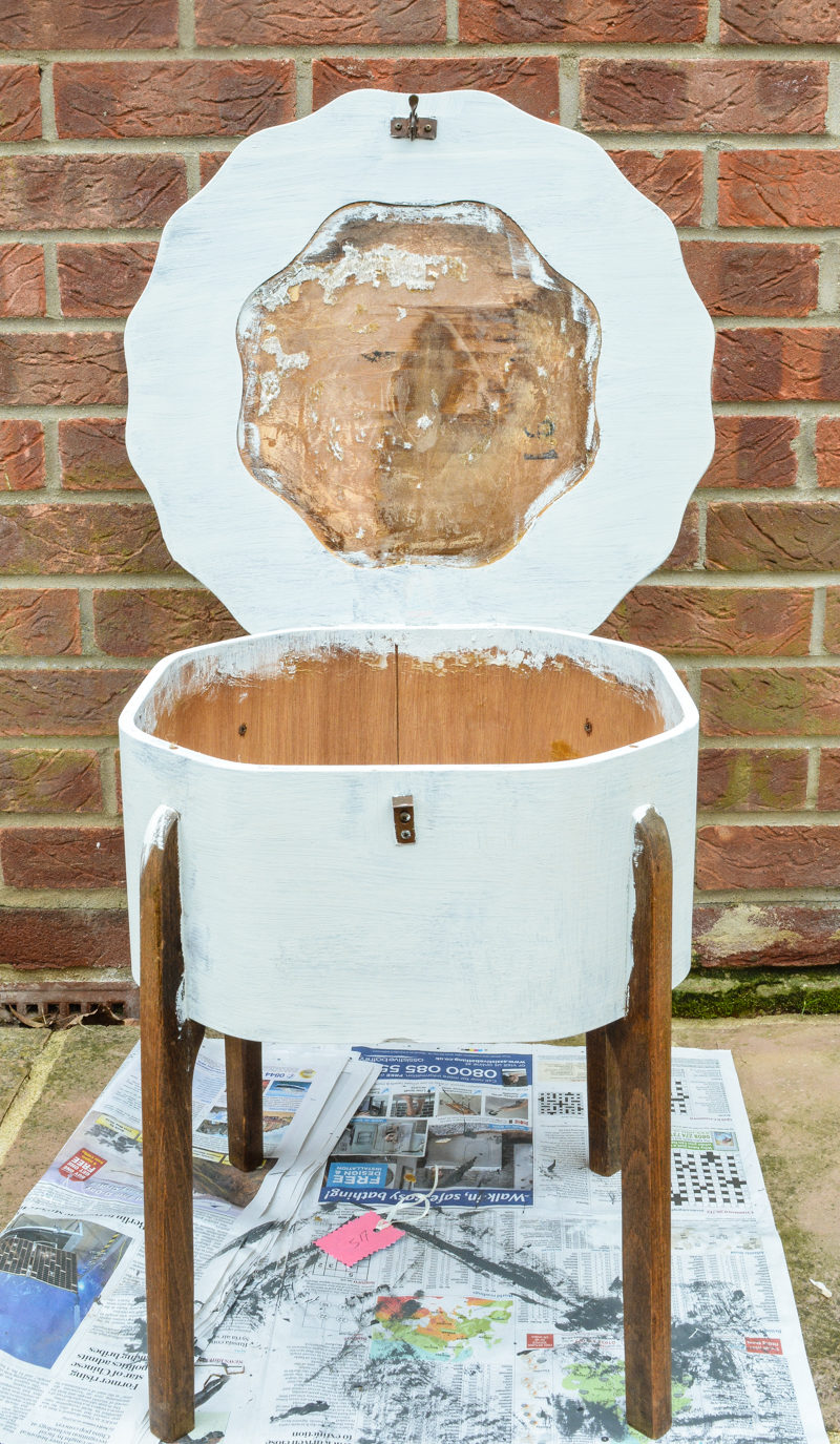 Wooden Sewing Box With Legs Makeover 12