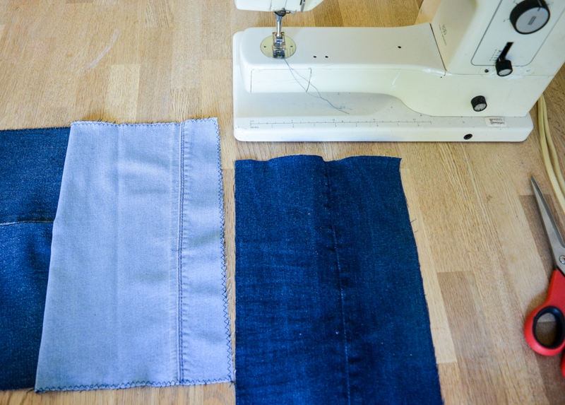 DIY Denim Curtains - how to make lined curtains 14