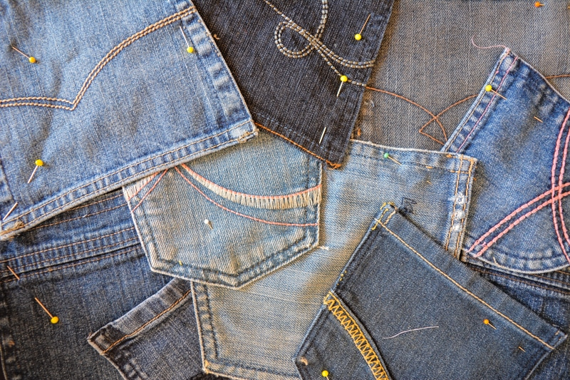 denim pocket craft, pinned together ready for sewing