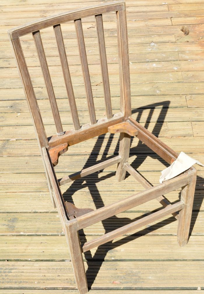 Sand the chair with 120 sandpaper How to use denim to reupholster a dining room chair