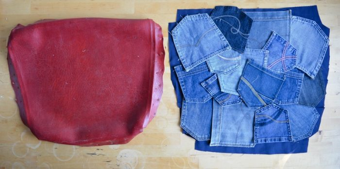Recover a chair seat with denim, denim patched placed ready for stitching