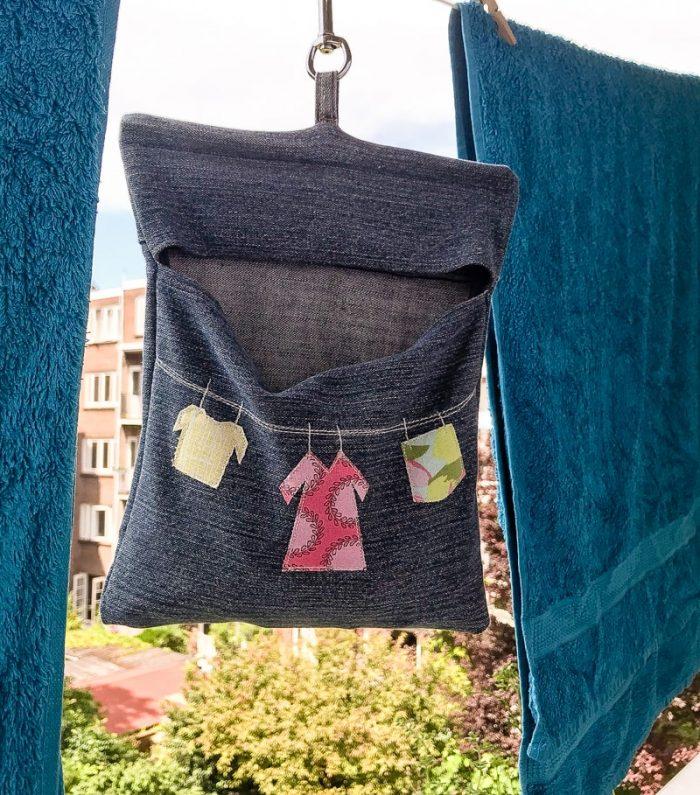 Peg Bag hanging on washing line using key clip fob, denim peg bag pattern