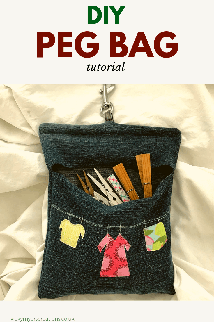 Old pair of jeans? Learn how to make your own peg pag, complete with clip to stop it blowing away! A great sewing project for anyone. #sewingproject