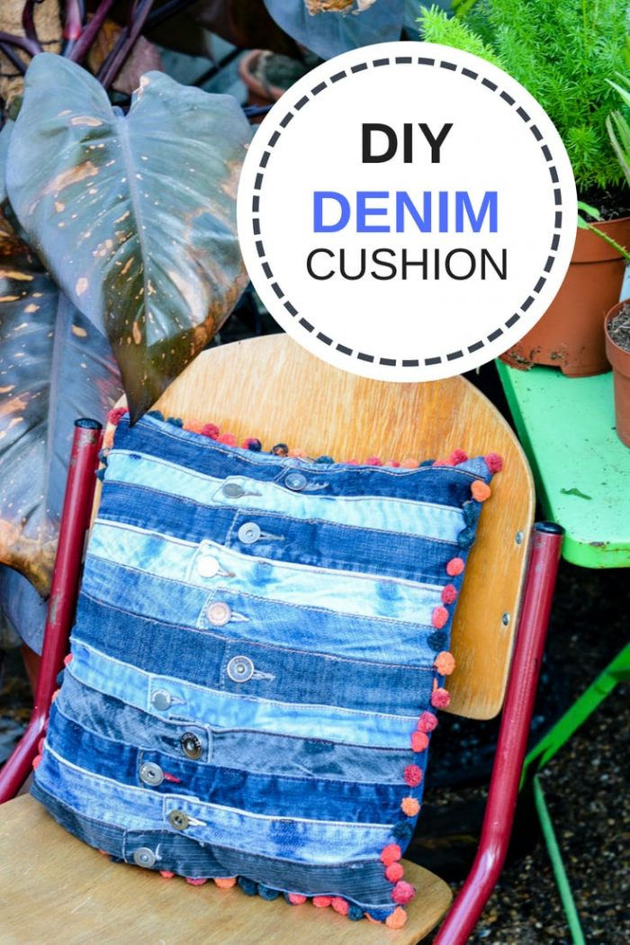 DIY Denim Cushion, Denim Cushion cover made with old jeans waistbands