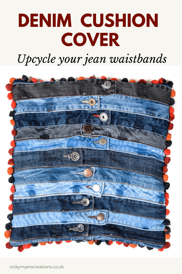 Make fun & unique denim cushions with a pompom trim. These denim cushion covers are a really lovely way to upcycle old jeans! Make the most of your old jeans by repurposing the waistbands #denimcushionDIY #Denimcushioncover #DIYcushion