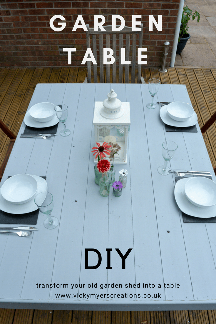 DIY Garden Table, upcycle an old shed side into a table 6