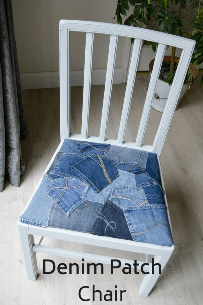 Upcycle a dining room chair with a patchwork of denim pockets #denimpocketcraft #denimfurniture #denim