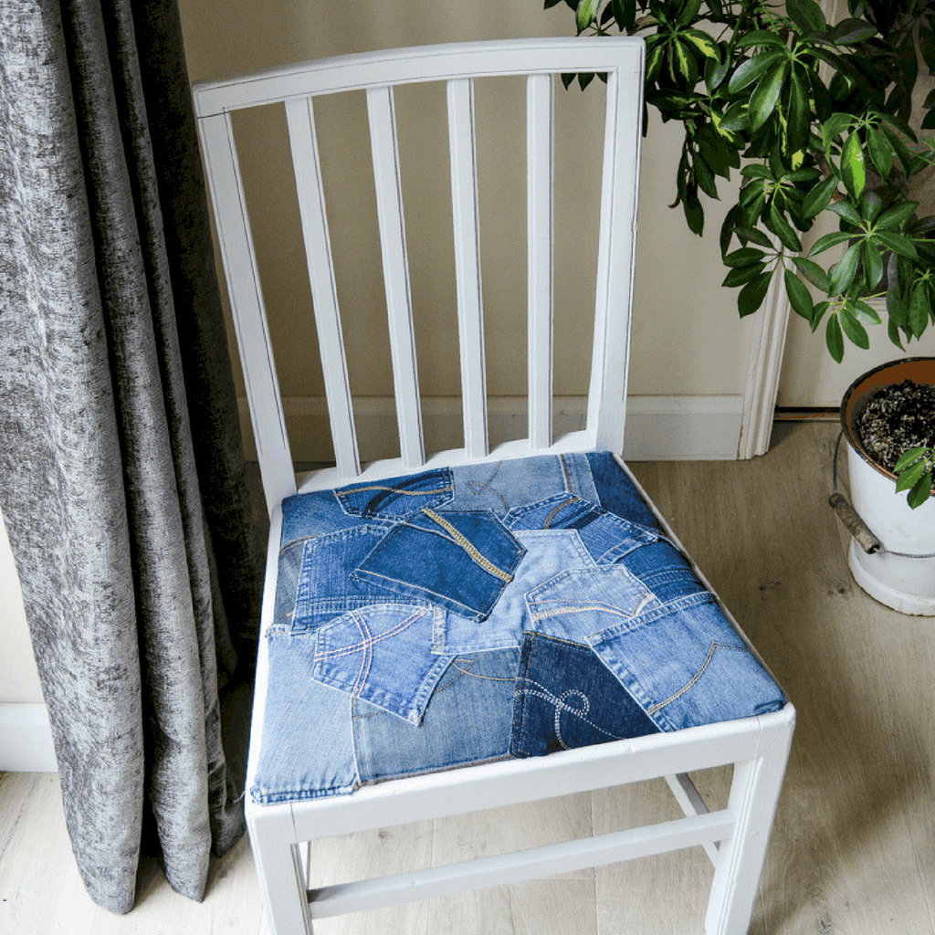 How to reupholster a dining room chair with denim pockets