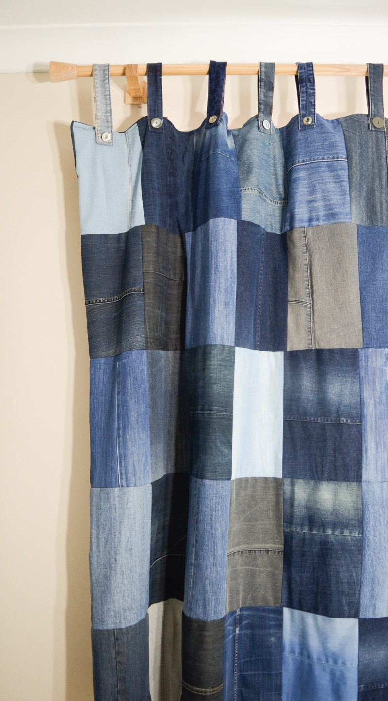 DIY Denim Curtains - how to make lined curtains 4
