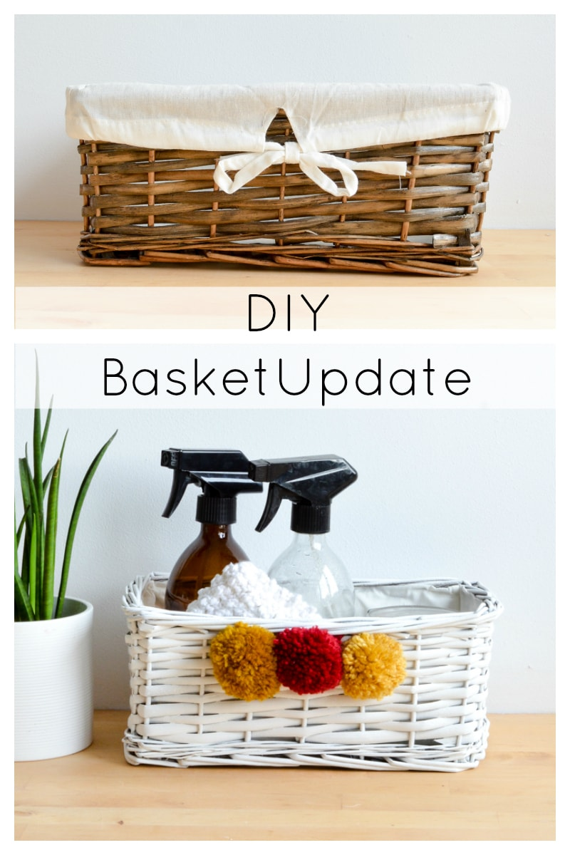 super quick and easy DIY to transform a wicker basket with spray chalk paint and handmade pompoms. Upcycle wicker baskets to suit your decor.