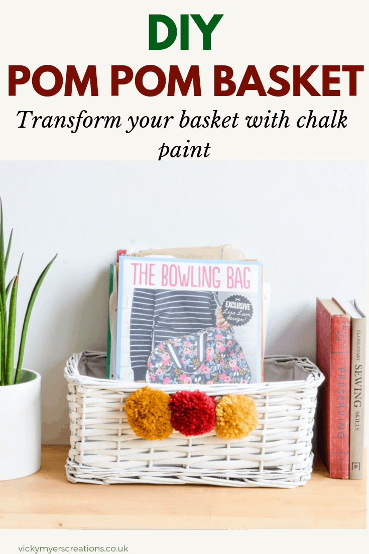 Quick and easy DIY to update a wicker basket with spray chalk paint and handmade pompoms. Upcycle wicker baskets to suit your organization and storage #DIYbasket