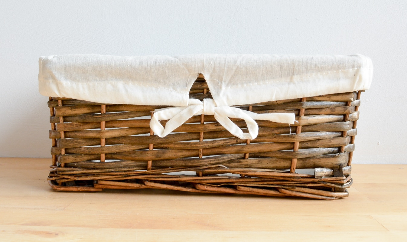 brown basket with cream lining
