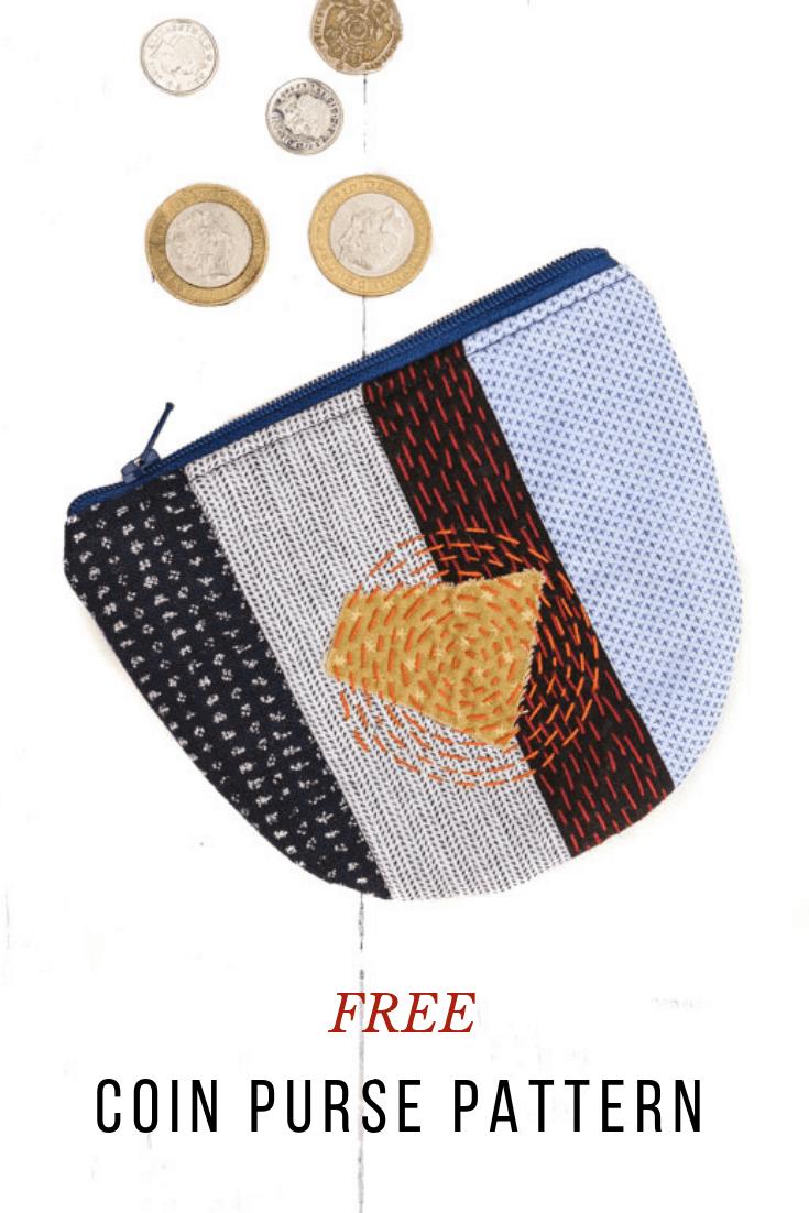 Sashiko Cute Coin Purse Pattern 8