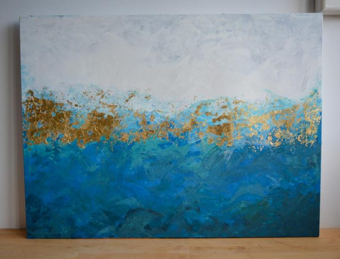 Easy DIY gold leaf abstract painting 10