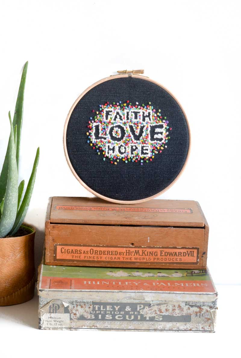 negative space embroidery hoop art, embroidery art quote, DIY embroidery hoop pattern