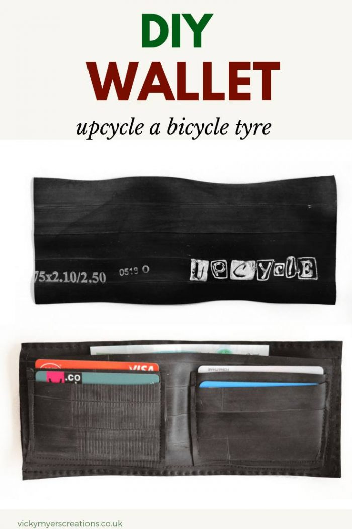 Learn how to upcycle your old bicycle tyre into a wallet - this free DIY tutorial gives you top tips for sewing the tyre   #menswalletDIY