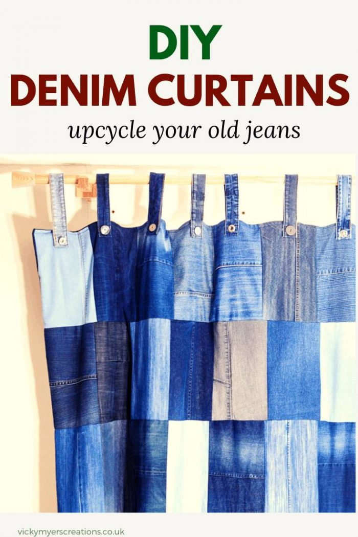 learn how to make your own upcycled, lined, denim curtains. This tutorial shows you just how easy it is to repurpose your old jeans #sewing #DIYcurtains