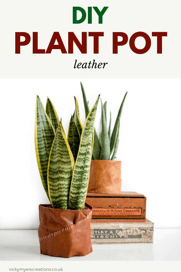 Learn how to make your own plant pot holders using scraps of leather, DIY Indoor Plant Pot Idea #DIYplantpot
