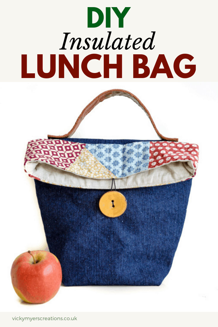 Free pattern and tutorial to sew your own insulated lunch bag. Learn how to make your own stylish and lunch bag from fabric scraps and denim. reusable lunch bag is perfect for carrying food & drinks to school, work, and day trips. This lunch tote features a leather handle with button closure #freebagpattern