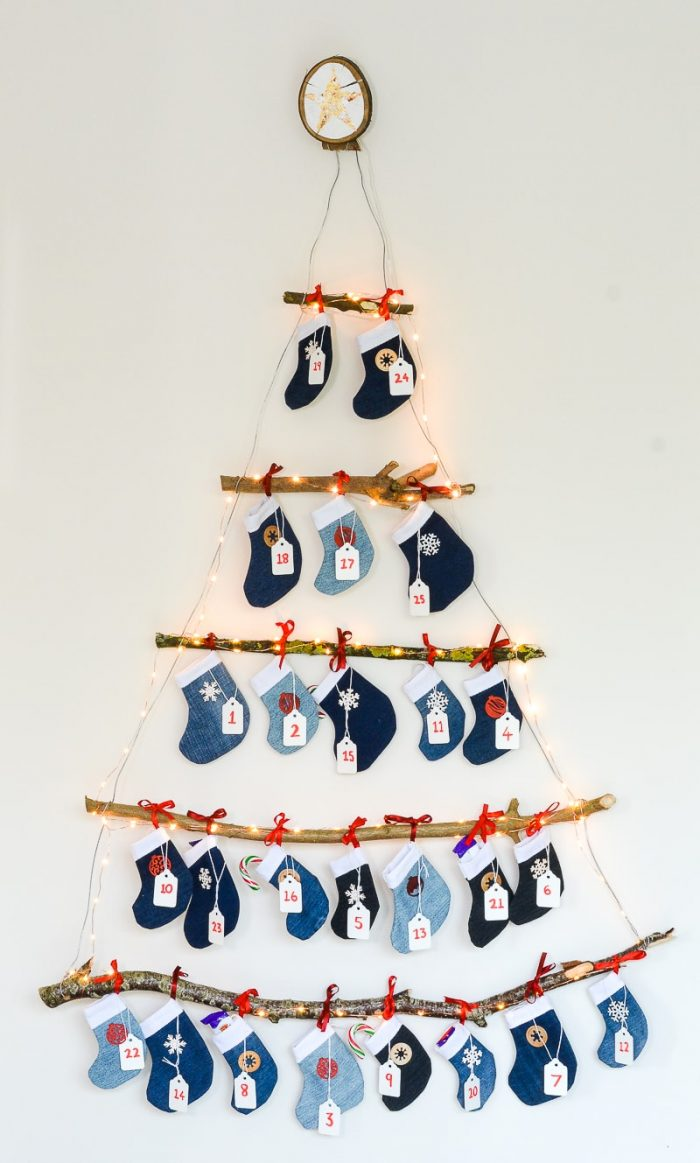 Learn how to make your own Denim DIY Mini Stocking Advent Calendar, FREE templates and printable activity ideas for each stocking. Reusable Advent Calendar