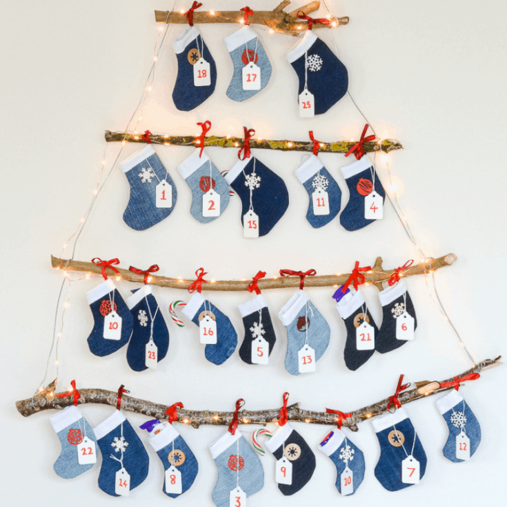 Denim DIY Mini Stocking Advent Calendar, Reusable Advent Calendar