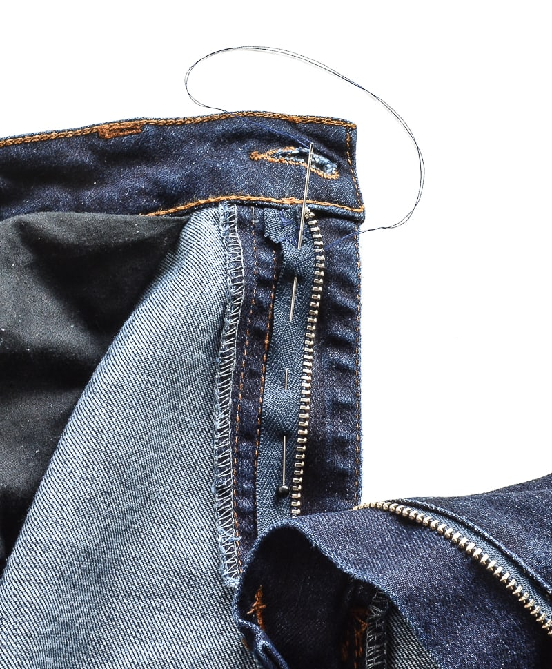 How to fix a zipper on jeans, replace the zip in a pair of jeans and keep the original top stitching 10
