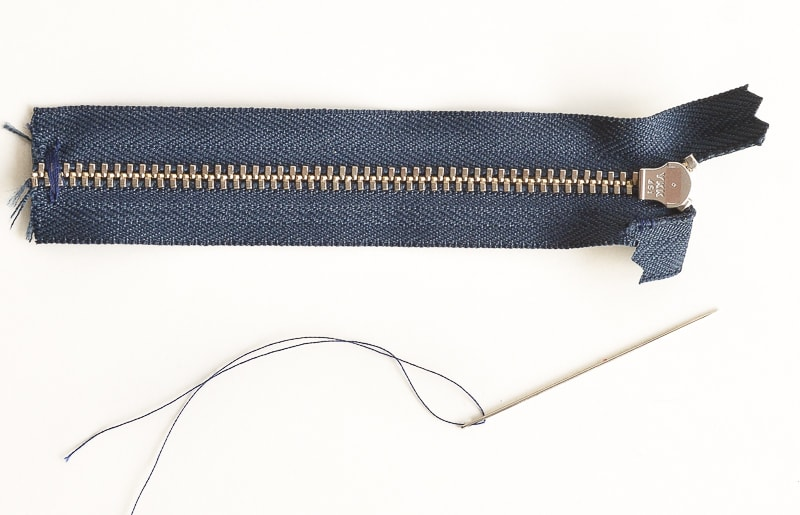 How to fix a zipper on jeans, replace the zip in a pair of jeans and keep the original top stitching 6