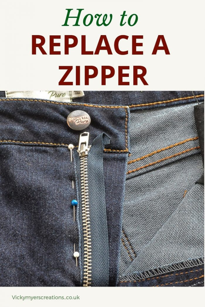 Does the zip need replacing in your favourite jeans? Learn how to easily replace the zipper, keeping all your original top stitching - your jeans will look new. #replacezipper #replacezip #jeansrepair