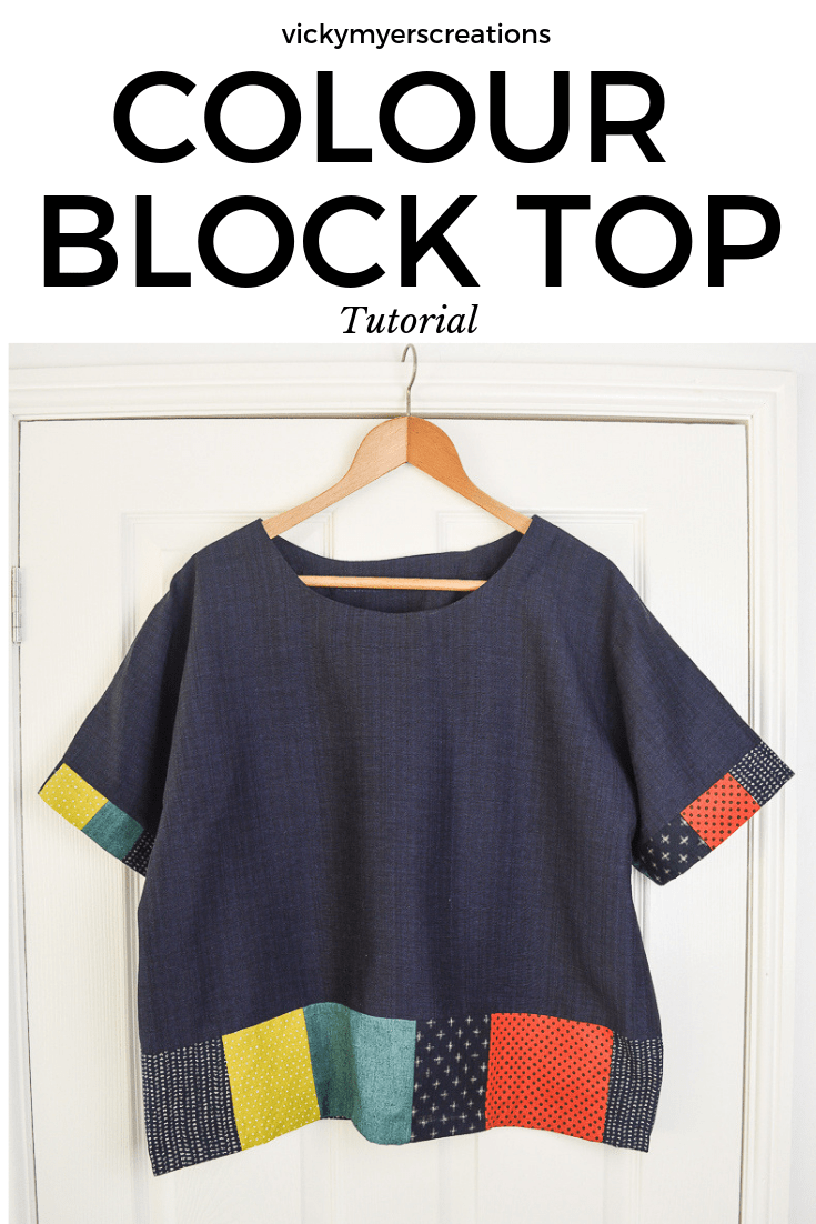Sew a staple boxy top for your everyday wardrobe using your fabric scraps to add your personality. Learn how to adapt a standard pattern to include blocks of colour. #colourblock #refashion