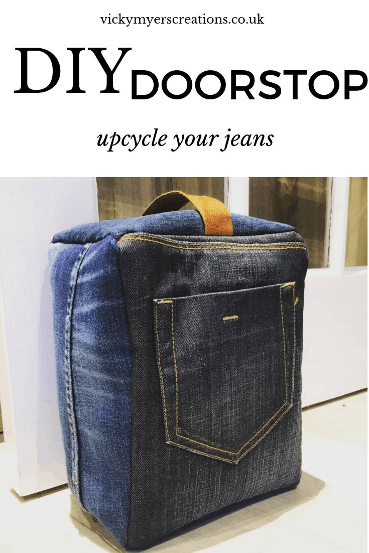 Learn how to make this upcycled denim DIY doorstop - its super easy with this step by step sewing tutorial. #freepattern #denim