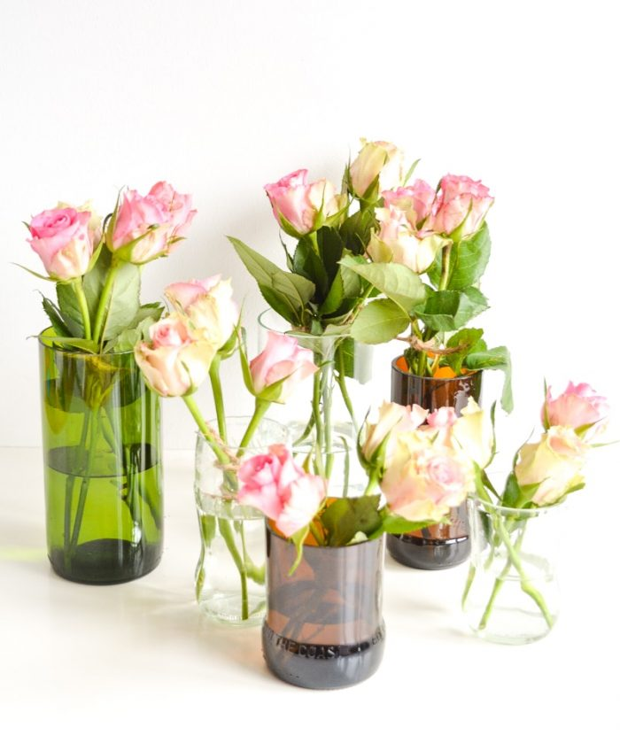 Learn how to cut glass bottles, one half makes beautiful upcycled glass vases, the other stunning upcycle cacti indoor planters