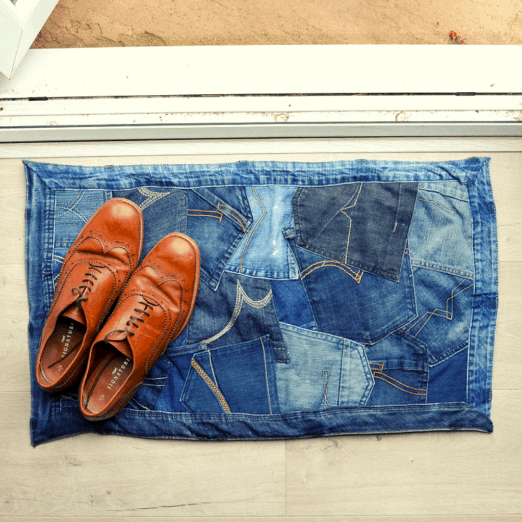 How to make a doormat using old jeans