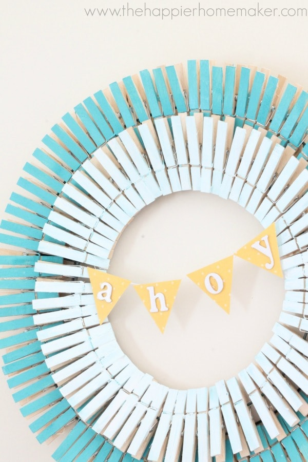 upcycled wreath made from clothes pegs