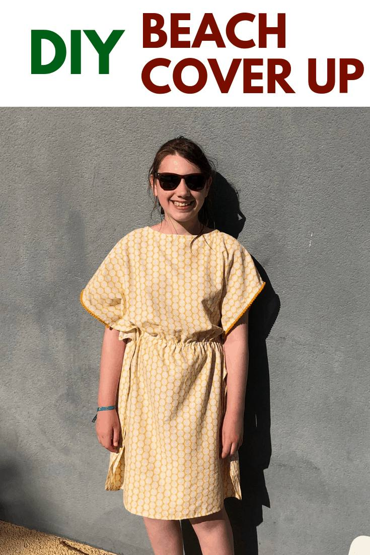 Learn how to make a super easy DIY beach cover up dress, using a dress in your wardrobe as a template make your own DIY bathing suit cover up