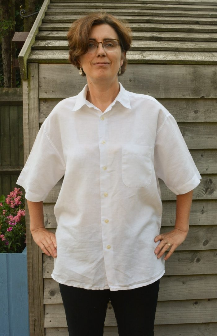 Mens button down shirt refashion - womens off the shoulder top 2