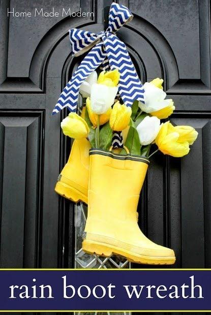 DIY wreath ideas, using welly boots